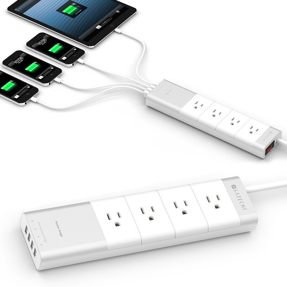 satechi aluminum 4 outlet power strip. Black Bedroom Furniture Sets. Home Design Ideas