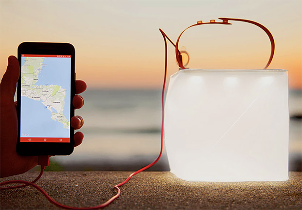 LuminAID Solar Inflatable Lantern and Phone Charger at werd.com