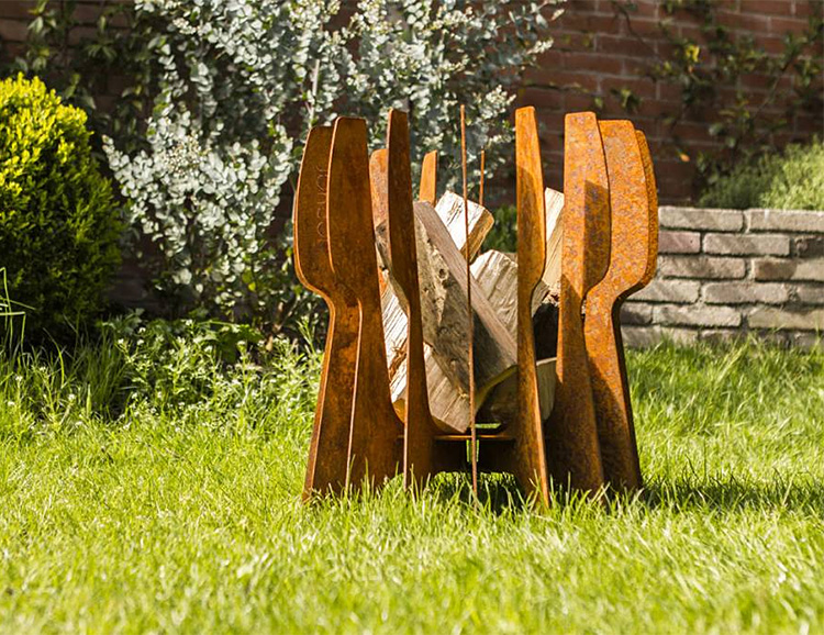 The FLINT Cor-ten Brings Modern Dutch Design to your Backyard Blaze at werd.com