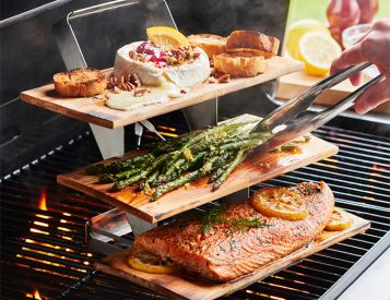 This 3-Tier Plank Holder Will Take Your Grilling Up A Level (Or 2)